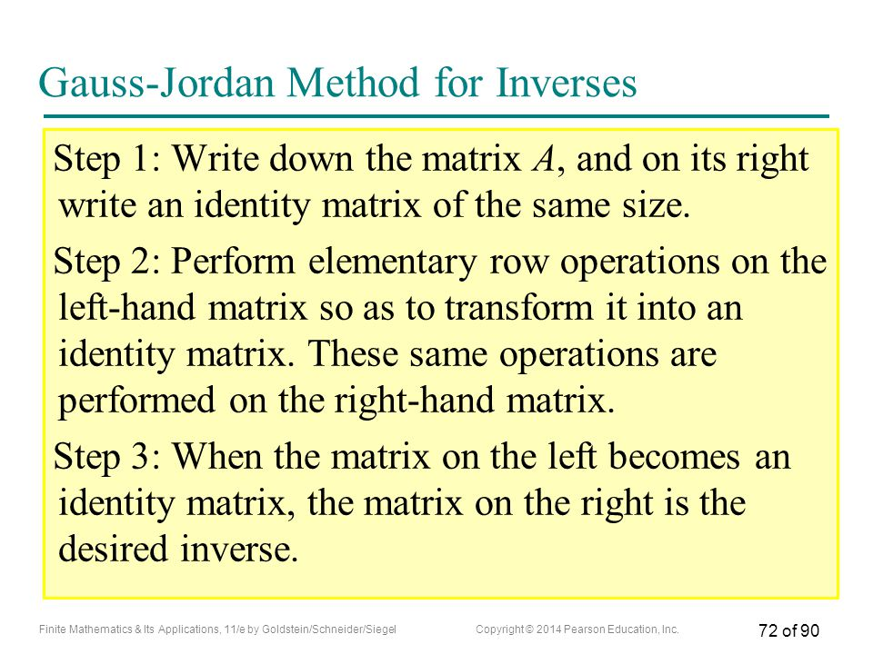 Gauss-Jordan Method for Inverses