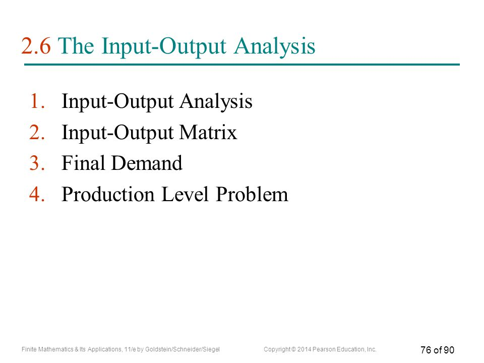 2.6 The Input-Output Analysis