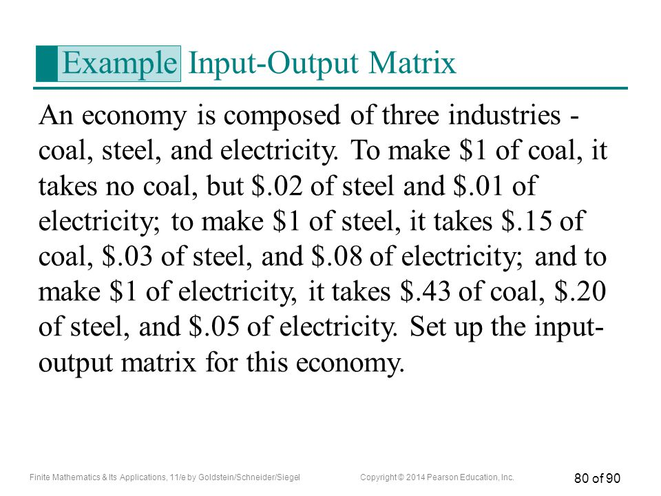 Example Input-Output Matrix