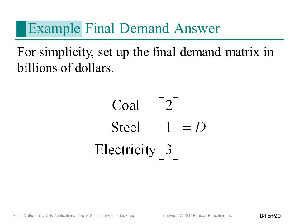 Example Final Demand Answer