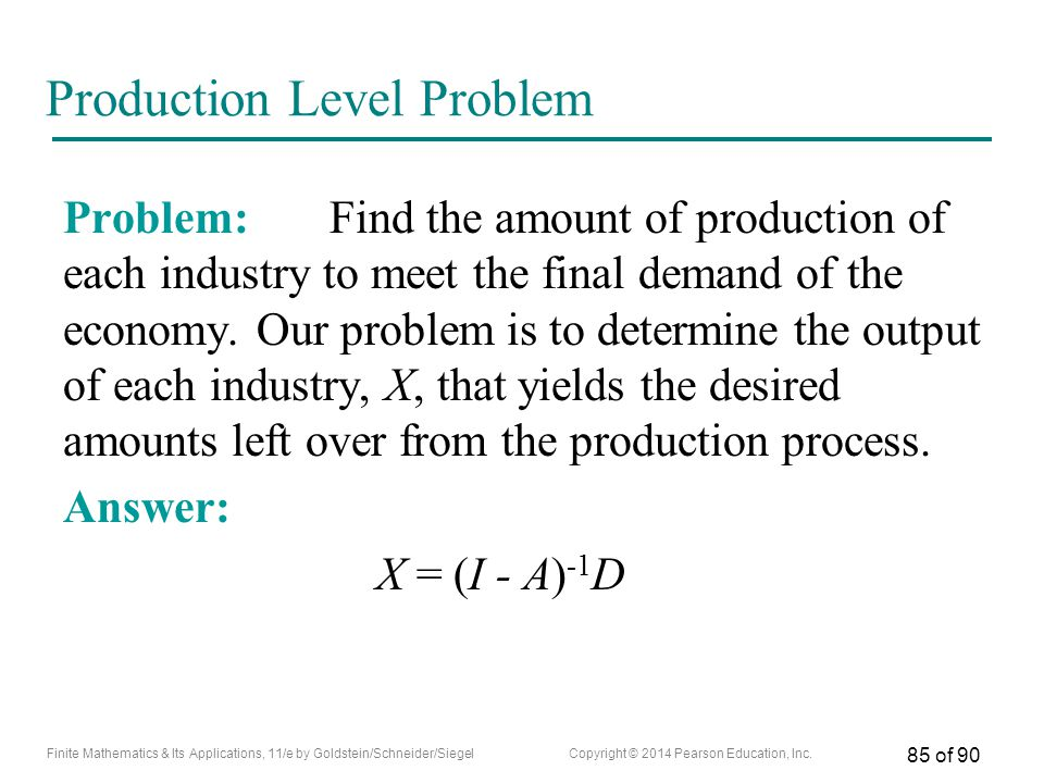 Production Level Problem