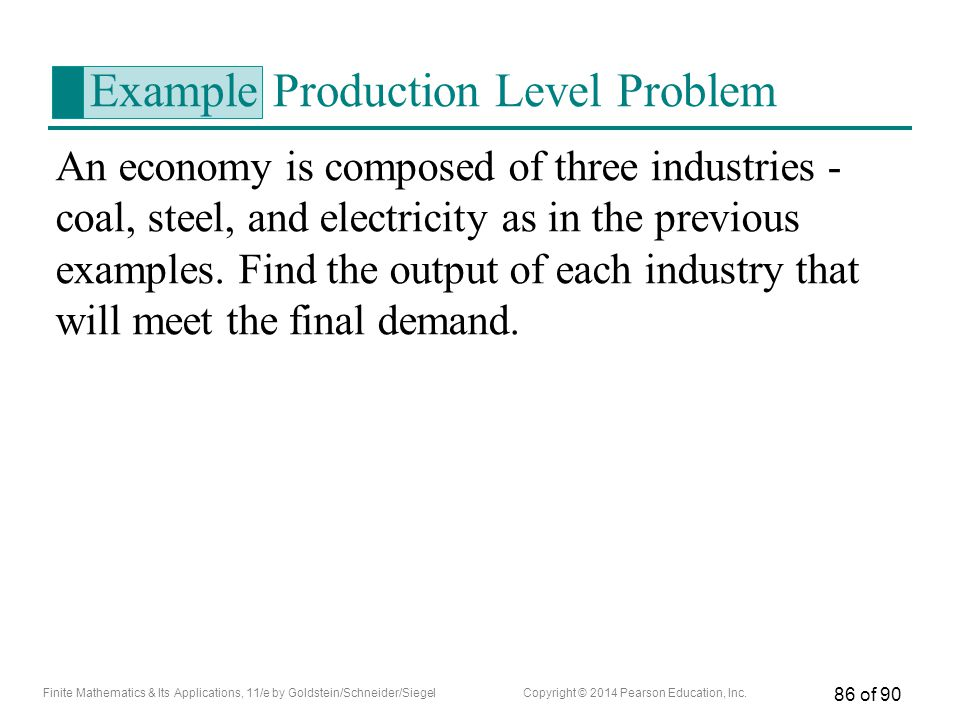 Example Production Level Problem
