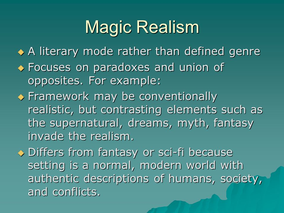 magical realism description essay or dissertation sample