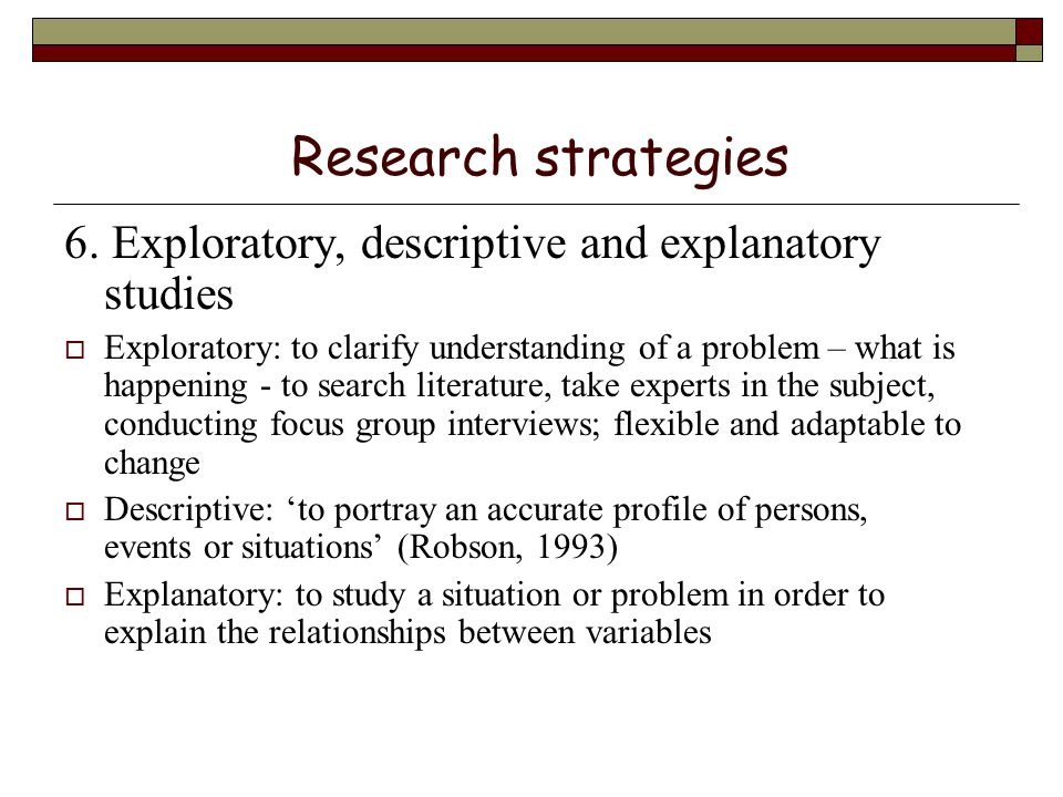 explain exploratory research Exploratory research is flexible and can address research questions of all types (what, why, how) provides an opportunity to define new terms and clarify existing concepts exploratory research is often used to generate formal hypotheses and develop more precise research problems.