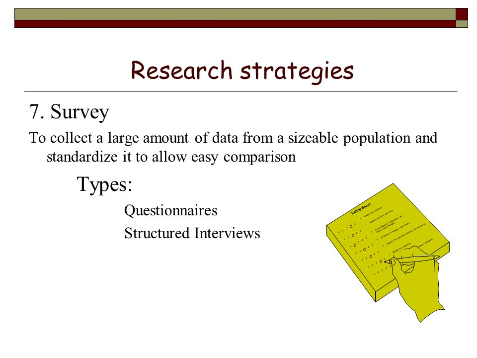 types of research strategies Part i what is research design 1 the context of design before examining types of research designs it is important to be clear about the role and purpose of research design.