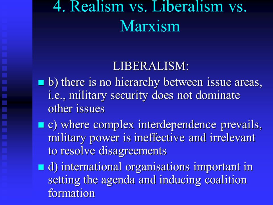 realism vs liberalism Realism, liberalism, and pragmatism  the us engagement policy toward china since 1972 has been conducted mainly by realists in both republican and democrat.