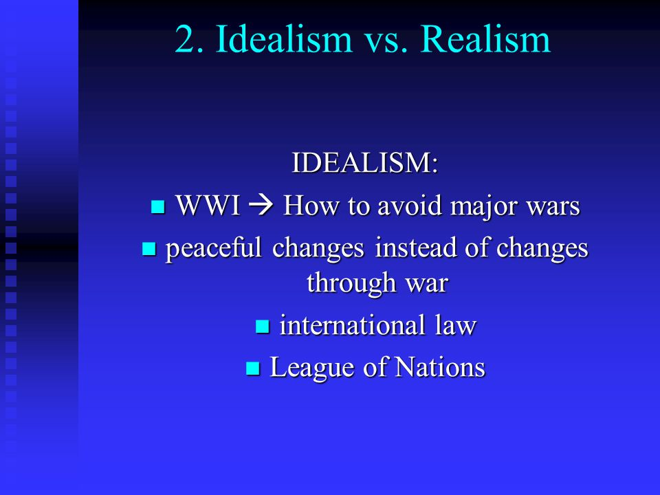 idealism vs realism in international relations essay Briefly i start with the two meta-theories: positivism and constructvism the ir  theories are arranged re their  idealists / institutionalists and realists (since  world war i)  -- behaviorists  excellent background essays http://www btselemorg.