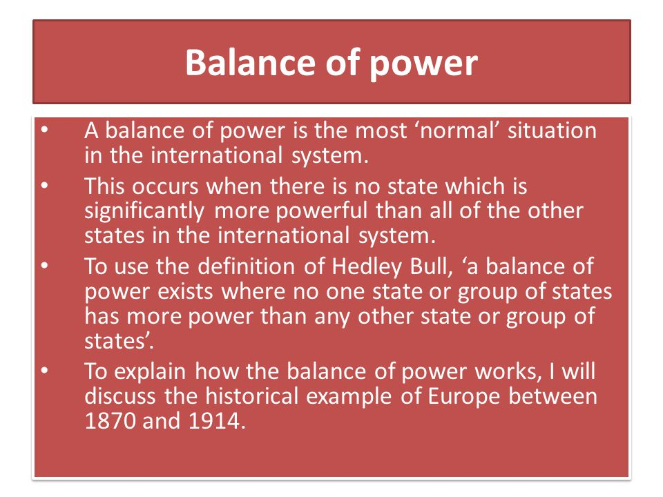 International relations notes on balance of
