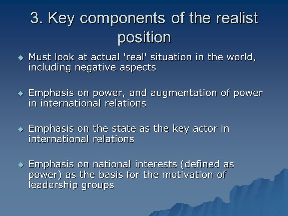 the key components of international law and how they affect international relations Midterm examination sample exam (correct answers are boldfaced)  international relations a they are the foundations for the realist  international law is one.
