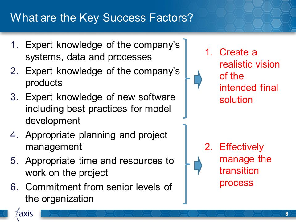 what are the key success factors 5 key factors to successful strategic planning organizations around the globe develop strategic plans they carefully create a vision of their future and the strategies needed to get there but many fail to realize their vision and fail to deliver the expected strategic results unfortunately, executive teams cannot pinpoint the reasons for.