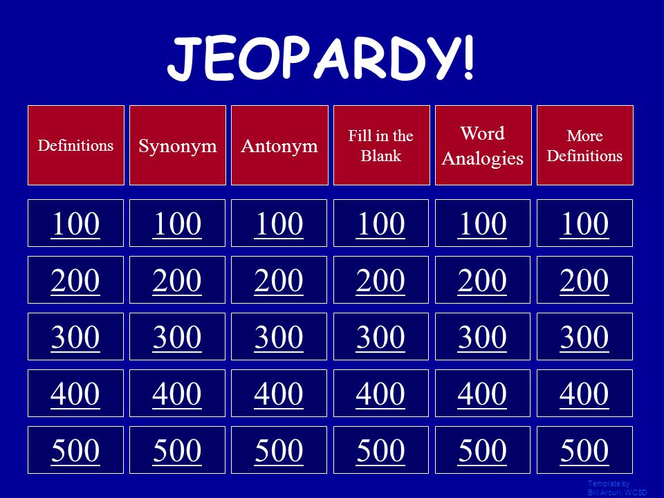 Jeopardy a game show template click once to begin for Jeopardy template with sound effects