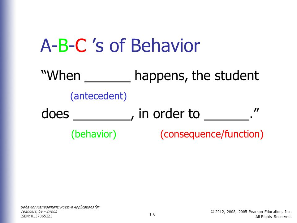 A-B-C 's of Behavior When happens, the student (antecedent)