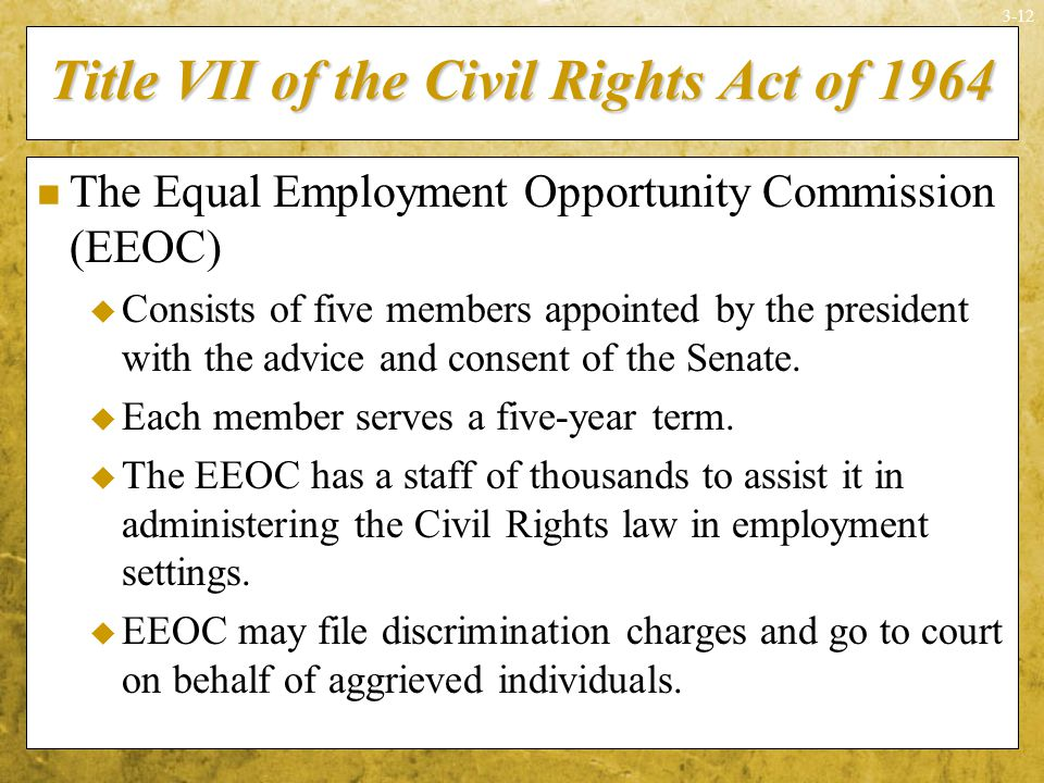 title vii of the civil rights Facts about sexual harassment sexual harassment is a form of sex discrimination that violates title vii of the civil rights act of 1964title vii applies to employers with 15 or more employees, including state and local governments.