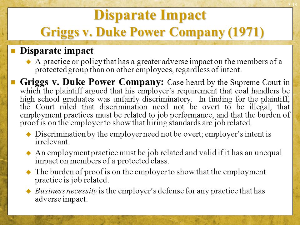 griggs v duke power company Griggs v duke power company is a historical case of employees who took a stand against workplace discrimination this lesson explains the details.