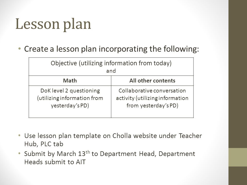 Objectives plc march 5 ppt video online download for Dok lesson plan template