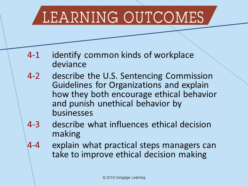 4-1 identify common kinds of workplace deviance