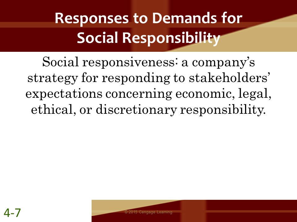 Responses to Demands for Social Responsibility
