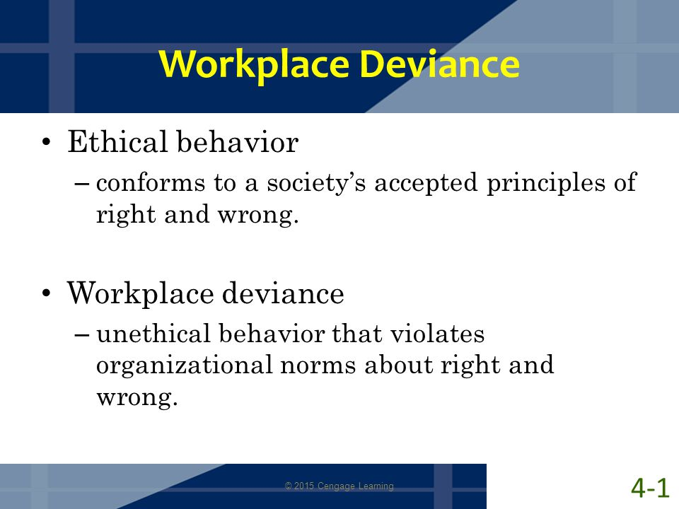 Workplace Deviance Ethical behavior Workplace deviance 4-1