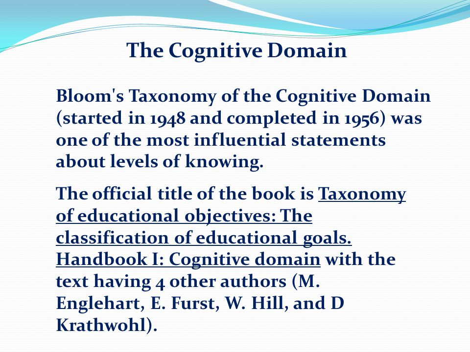 cognitive domain Bloom's taxonomy action verb list for the cognitive domain knowledge  comprehension application analysis synthesis evaluation  define.