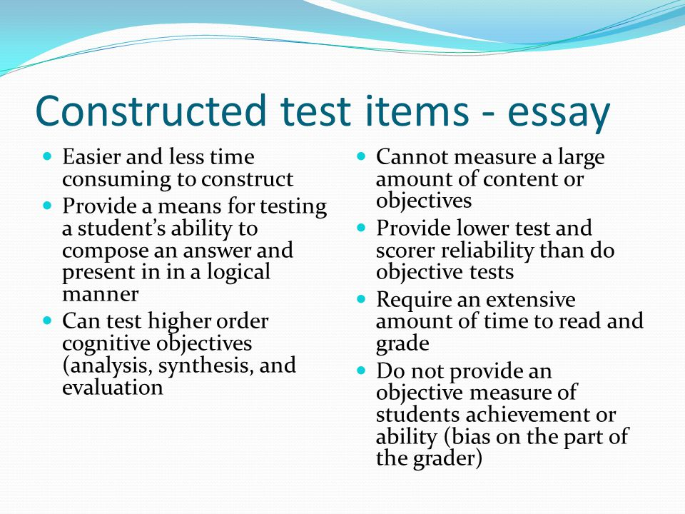 "essay test items ""essay test is a test that requires the way of restricting responses in essay tests is to base 60 item multiple choice test items."