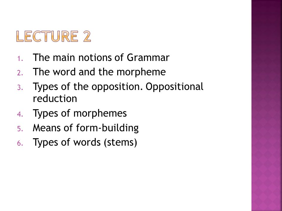 Lecture 2 The main notions of Grammar The word and the morpheme