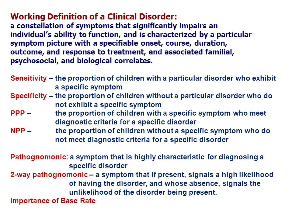 Working Definition Of A Clinical Disorder: