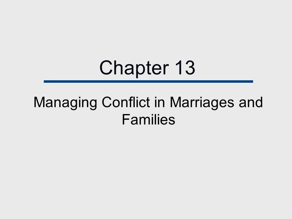 Managing Conflict in Marriages and Families