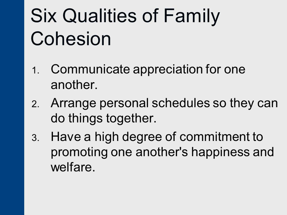 Six Qualities of Family Cohesion