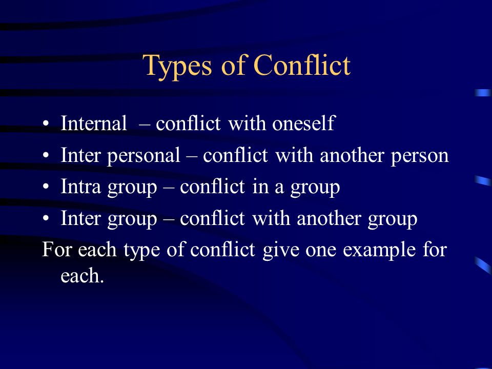 Types of Conflict Internal – conflict with oneself