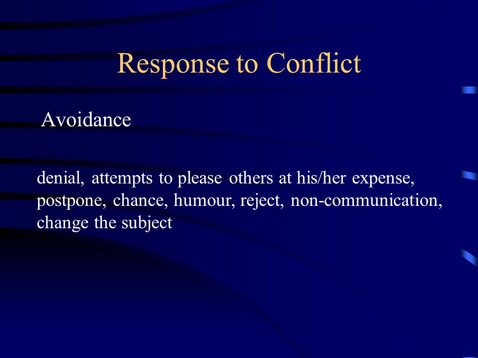 Response to Conflict Avoidance
