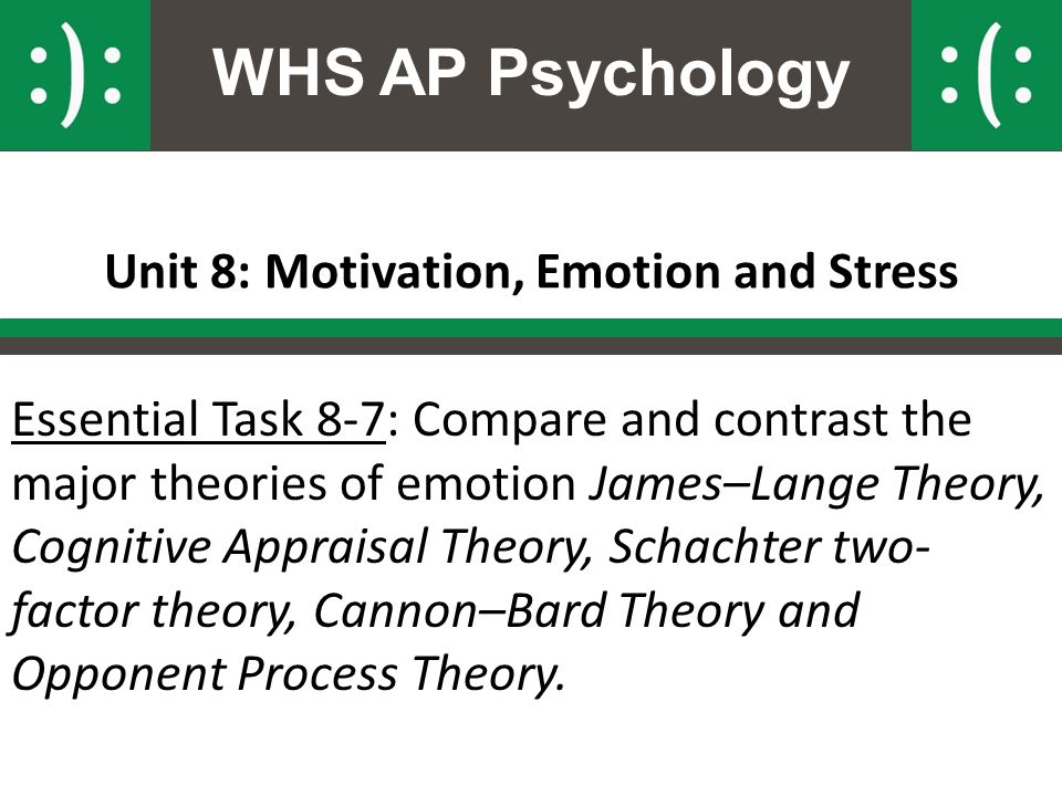 4 compare and contrast two theories of emotion Major theories of emotion compare and contrast three basic theories of emotion james-lange theory cannon-bard theory two-factor theory major neural components of emotion what are the neural components of emotion.