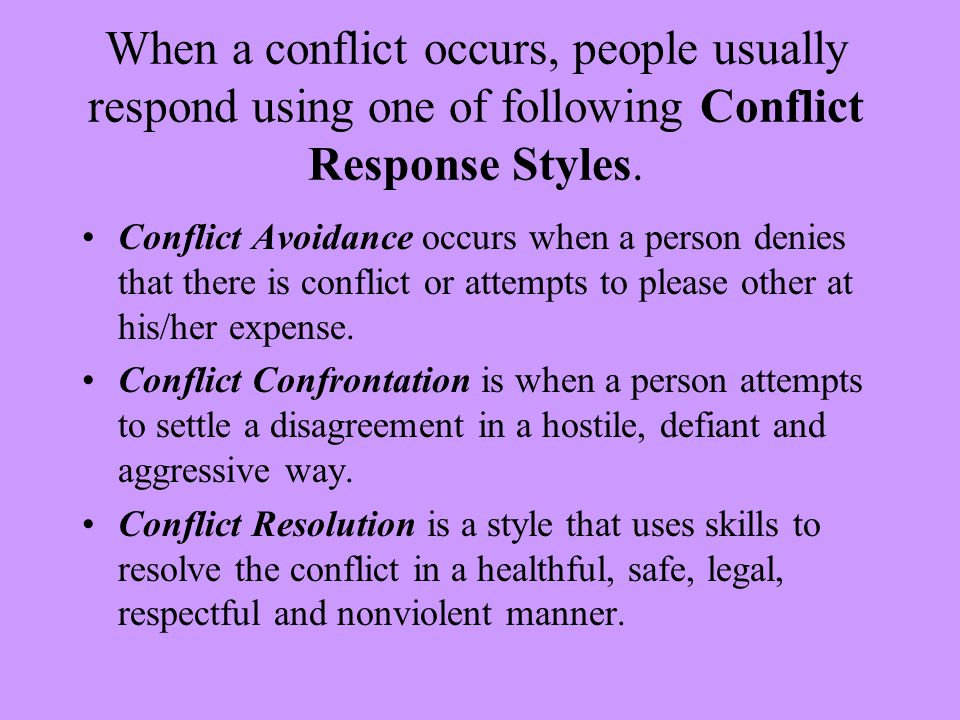 how a conflict occurs and how Introduction to conflict: conflict is difficult to define, because it occurs in many different settings the essence of conflict seems to be disagreement, contradiction, or incompatibility thus, conflict refers to any situation in which there are incompatible goals, cognitions, or emotions within or between individuals or groups.