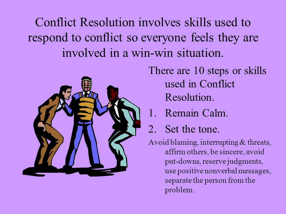 win win conflict resolution skill essay A manager cannot avoid the conflict and hope that it disappears, because that  runs the risk of the conflict  applying conflict resolution skills in health care part i .
