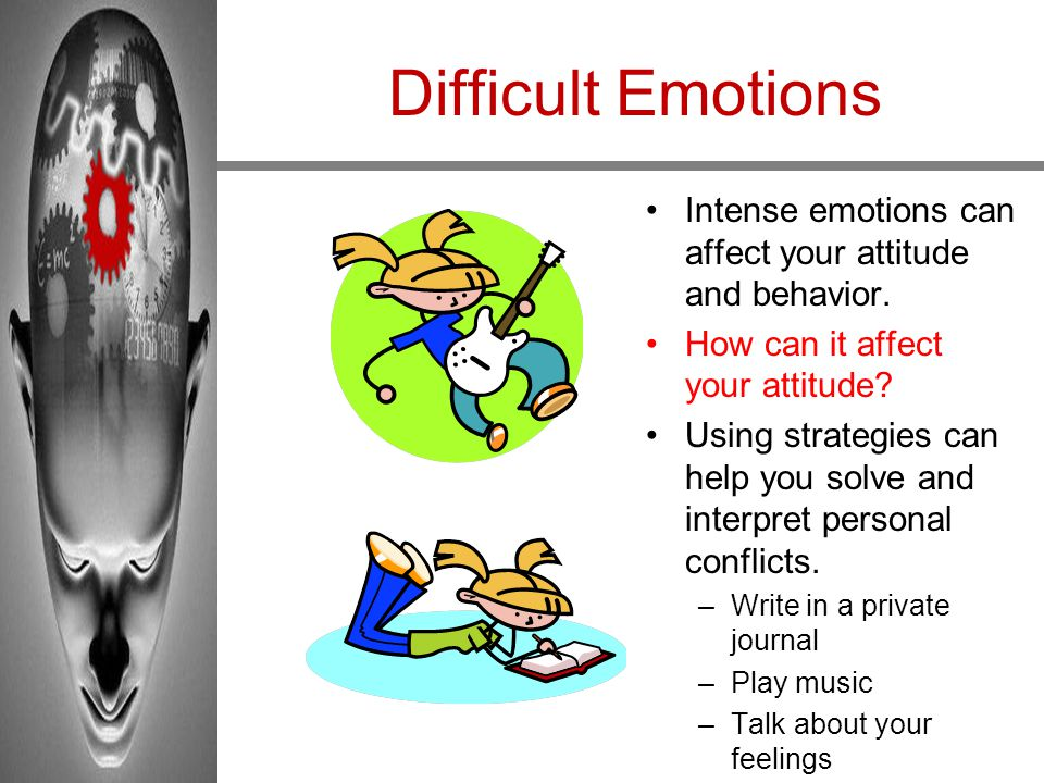 Difficult Emotions Intense emotions can affect your attitude and behavior. How can it affect your attitude