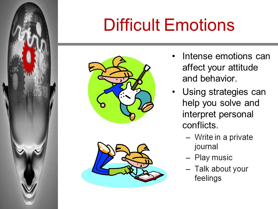 Difficult Emotions Intense emotions can affect your attitude and behavior. Using strategies can help you solve and interpret personal conflicts.
