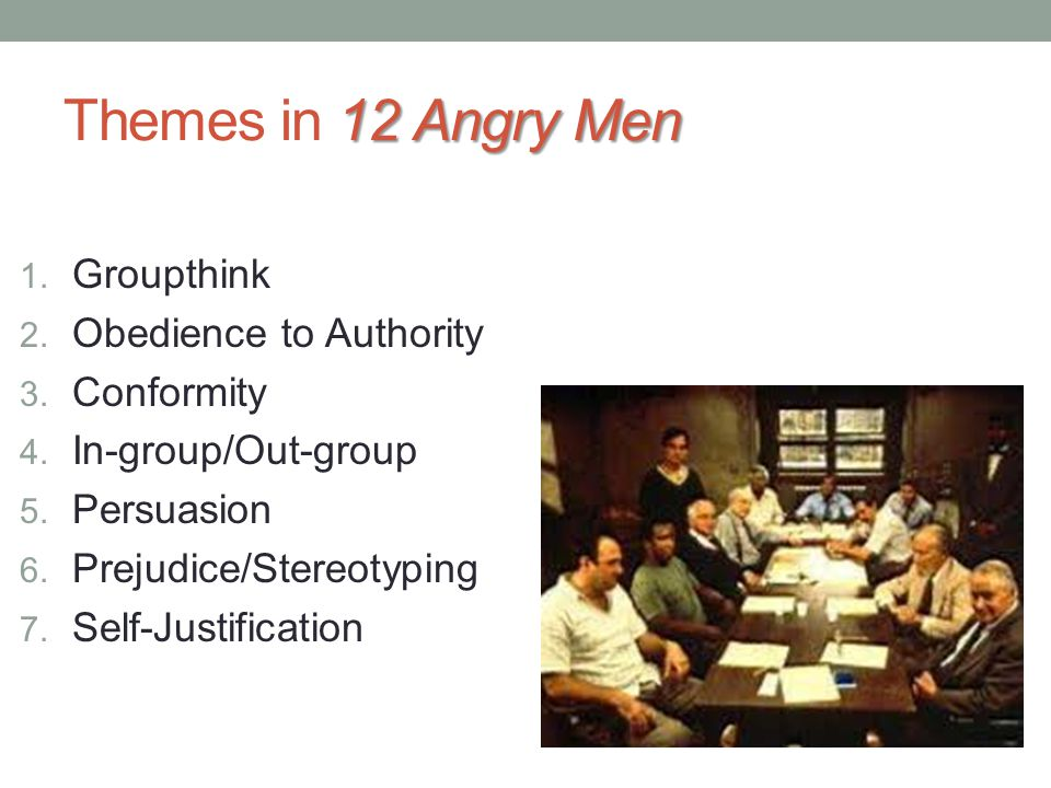 Themes In 12 Angry Men Groupthink Obedience To Authority Conformity