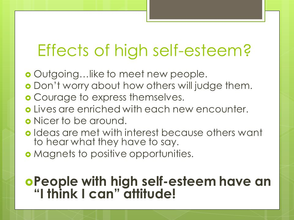high self esteem essay