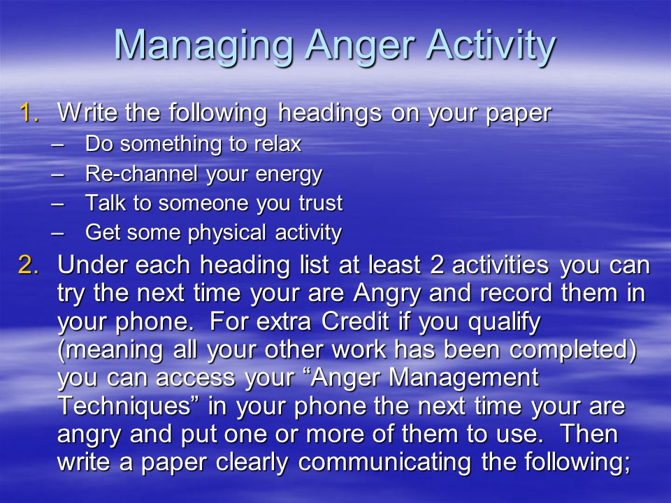 Managing Anger Activity