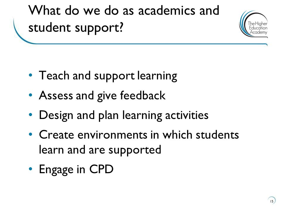 What do we do as academics and student support