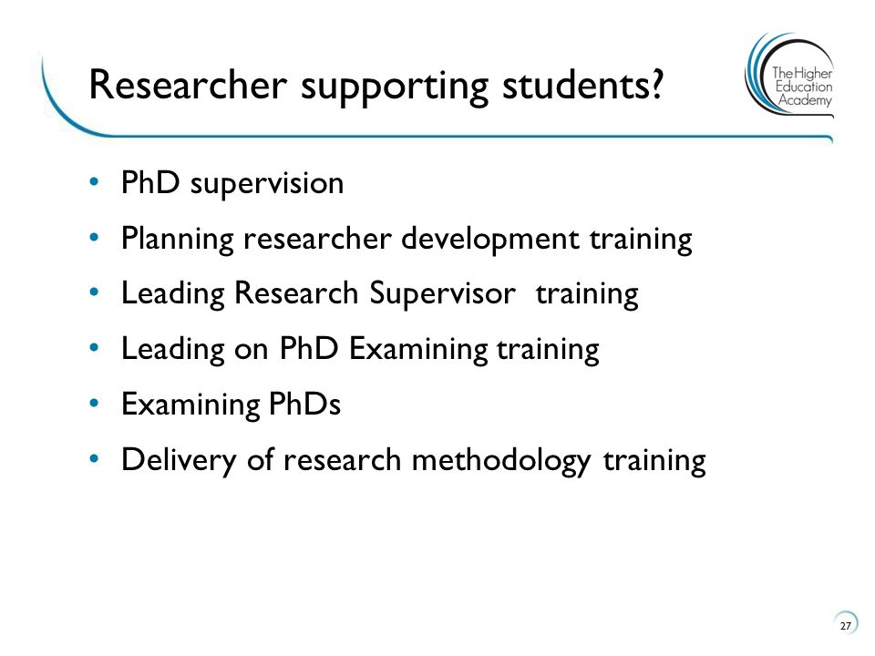 Researcher supporting students