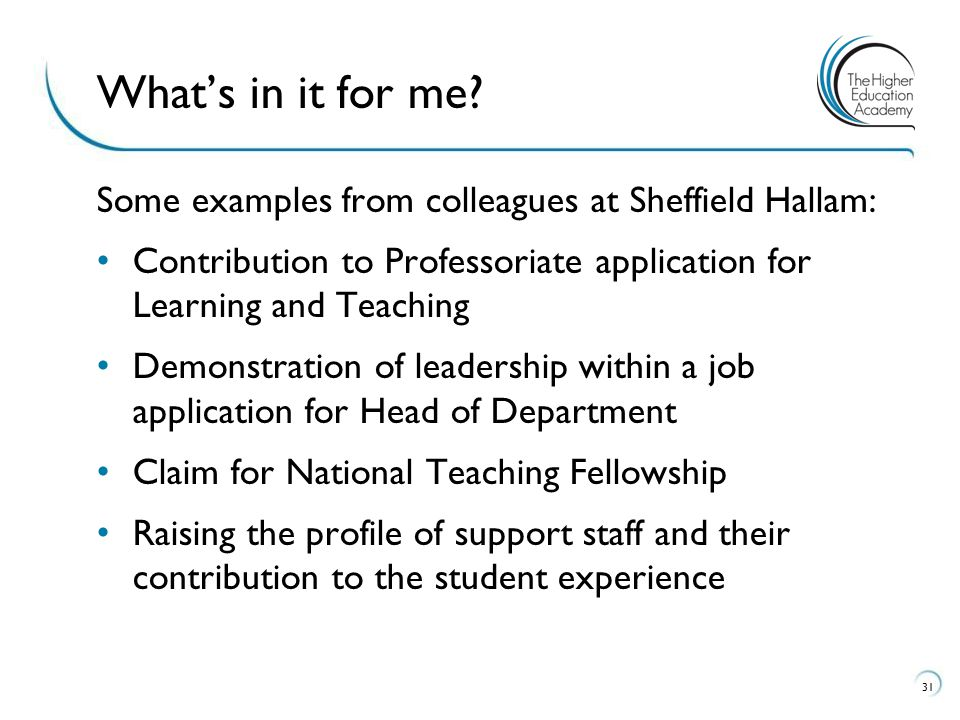 What's in it for me Some examples from colleagues at Sheffield Hallam: Contribution to Professoriate application for Learning and Teaching.