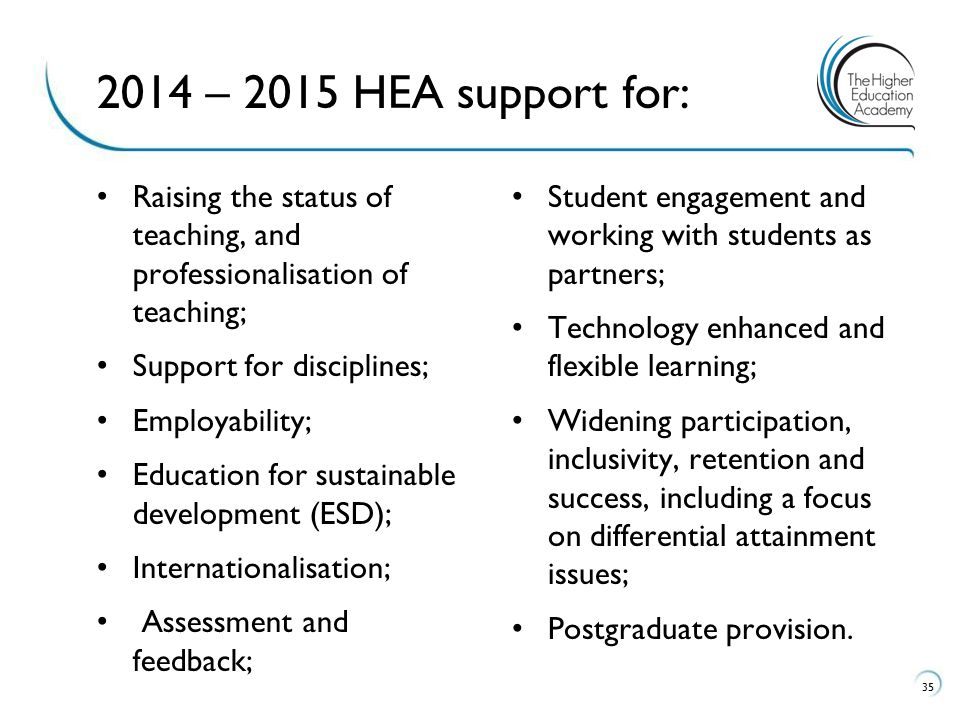 2014 – 2015 HEA support for: Raising the status of teaching, and professionalisation of teaching;