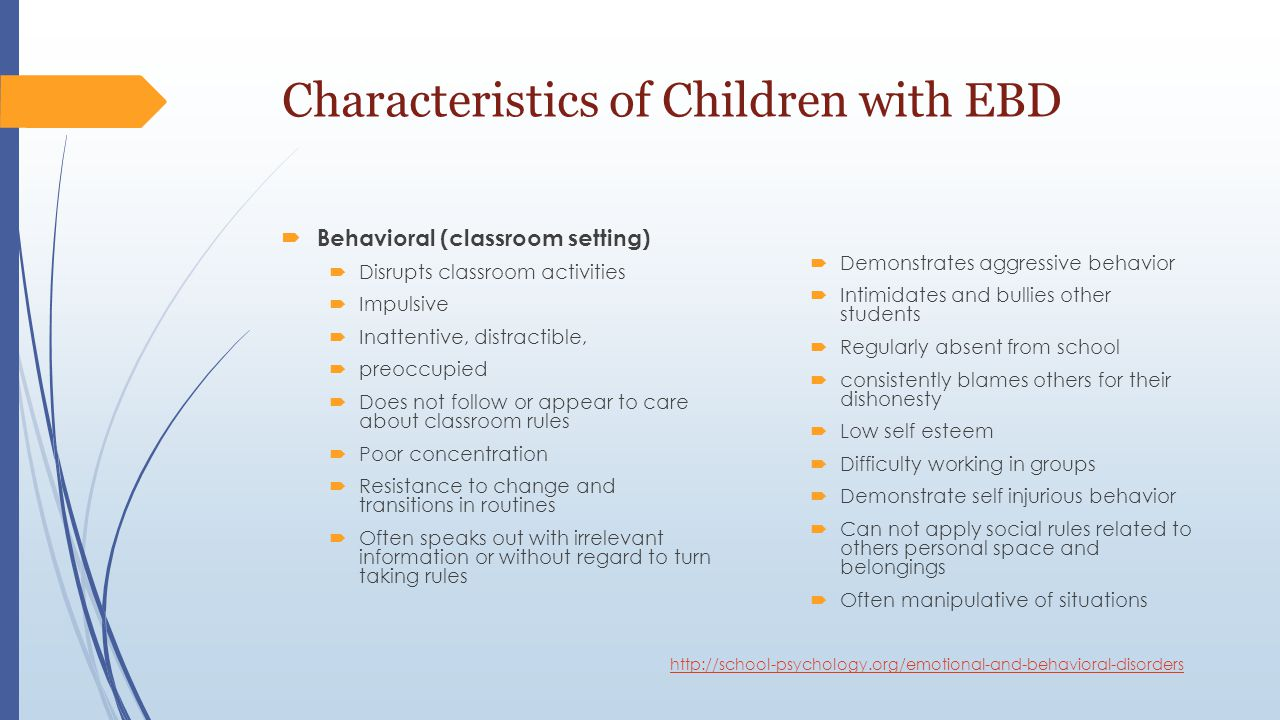 Classroom Design For Students With Emotional And Behavioral Disorders ~ Learners with emotional or behavioral disorders ebd