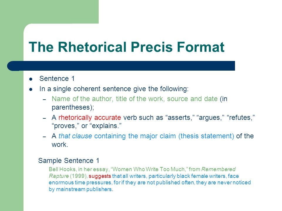 Writing a rhetorical precis example