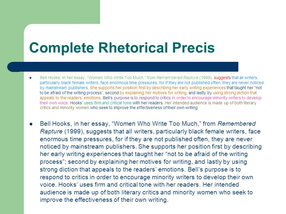 writing the rhetorical precis ppt video online  complete rhetorical precis
