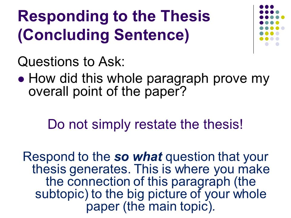concluding chapter of a thesis Chapter 3: quantitative master's thesis section it is important that this part of your conclusion chapter incorporate the implications of your findings in terms.