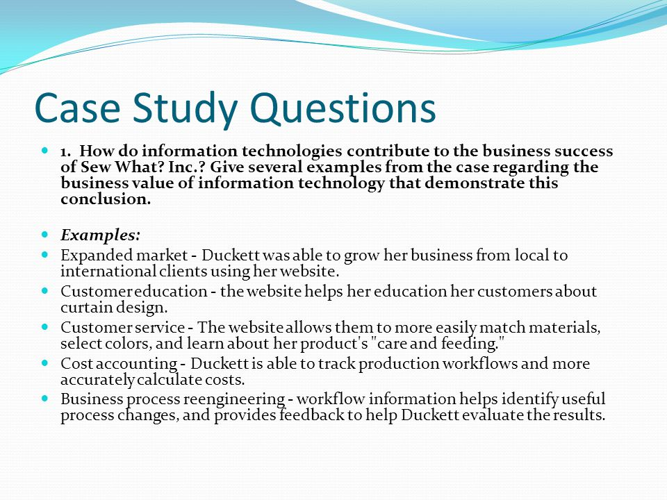 case study discussion questions Audit and assurance case study questions the higher-level skill marks in this question will be awarded for a discussion of why the issue is relevant to the.