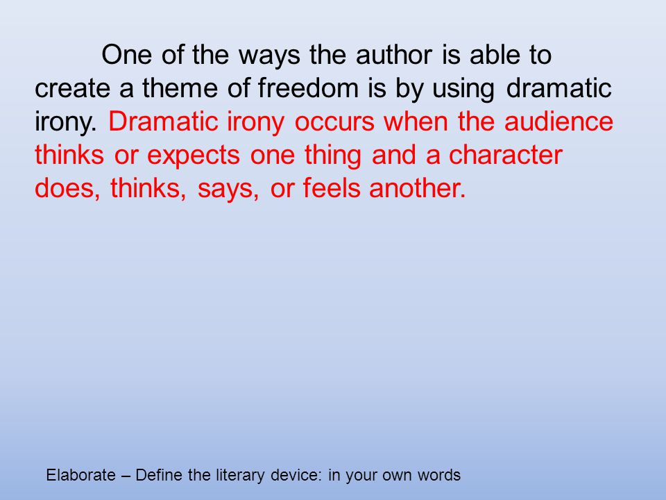 the theme of freedom in the story of an hour The story of an hour themes and literary elements  the story of an hour themes and literary elements lora cruse ashford university eng125 november, 14 2014 the major theme in kate chopin's.