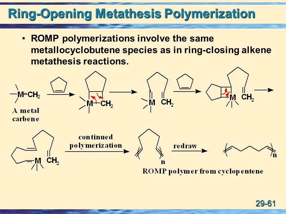 metathesis opening polymerization ring Abstract heterotelechelic polymers were synthesized by a kinetic telechelic ring-opening metathesis polymerization method relying on the regioselective cross-metathesis of the propagating grubbs' first-generation catalyst with.