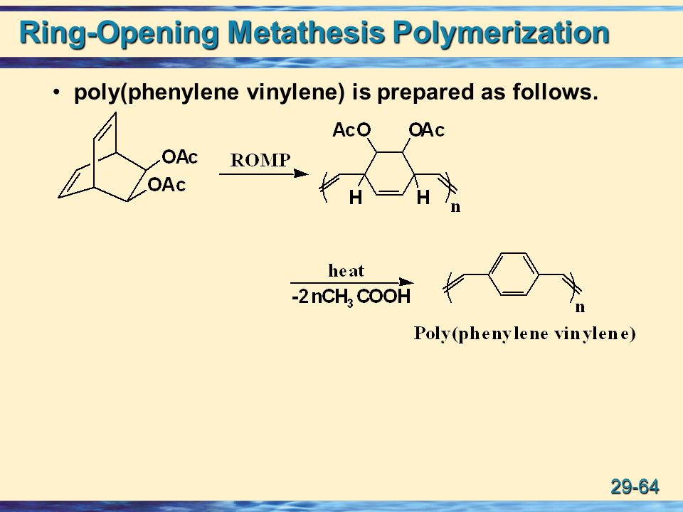 ring-opening metathesis polymerization Previous article in early view: gel forming waterborne dispersion polymerization of sodium p-styrene sulfonate with glycidyl methacrylate previous article in early.